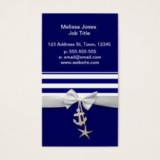 Nautical blue stripe white ribbon & charms graphic business card