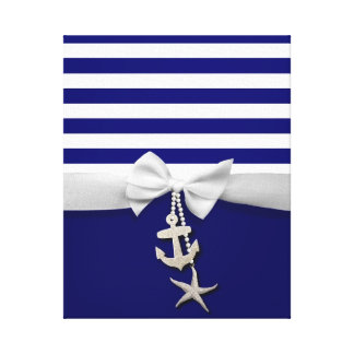 Nautical blue stripe white ribbon & charms graphic canvas print