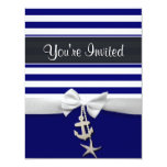 Nautical blue stripe white ribbon & charms graphic card
