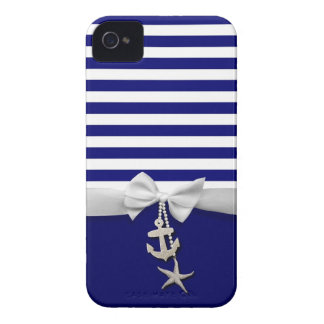 Nautical blue stripe white ribbon & charms graphic Case-Mate iPhone 4 cases