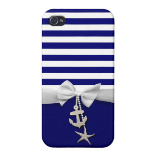 Nautical blue stripe white ribbon & charms graphic cases for iPhone 4