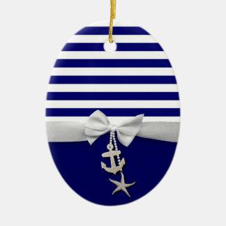 Nautical blue stripe white ribbon & charms graphic ceramic ornament