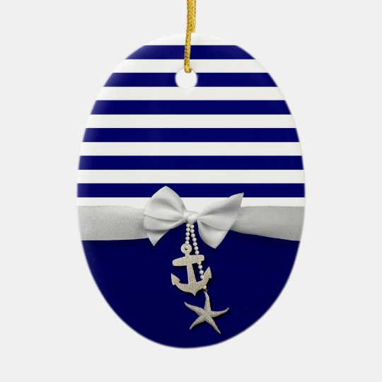 Nautical blue stripe white ribbon & charms graphic ceramic ornament