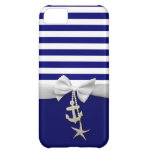 Nautical blue stripe white ribbon & charms graphic cover for iPhone 5C