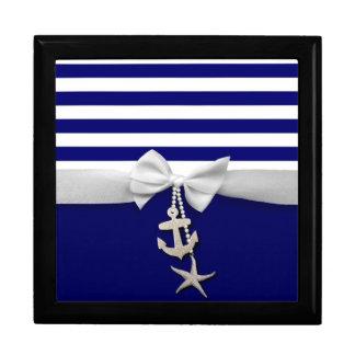 Nautical blue stripe white ribbon & charms graphic gift box