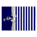 Nautical blue stripe white ribbon & charms graphic greeting card