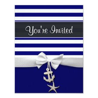 Nautical blue stripe white ribbon & charms graphic 4.25x5.5 paper invitation card