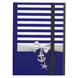 Nautical blue stripe white ribbon & charms graphic iPad air cases