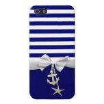 Nautical blue stripe white ribbon & charms graphic cover for iPhone 5