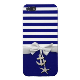 Nautical blue stripe white ribbon & charms graphic iPhone SE/5/5s cover