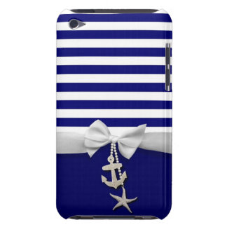 Nautical blue stripe white ribbon & charms graphic iPod touch Case-Mate case