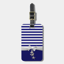 Nautical blue stripe white ribbon & charms graphic luggage tag