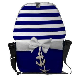 Nautical blue stripe white ribbon & charms graphic courier bag