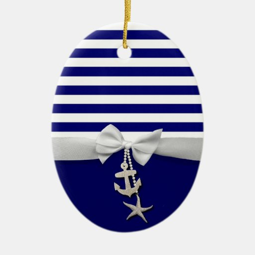 Nautical blue stripe white ribbon & charms graphic Double-Sided oval ceramic christmas ornament