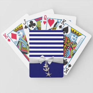 Nautical blue stripe white ribbon & charms graphic card deck