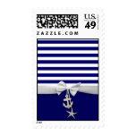 Nautical blue stripe white ribbon & charms graphic stamp