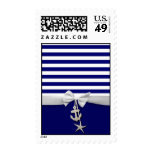 Nautical blue stripe white ribbon & charms graphic postage stamp