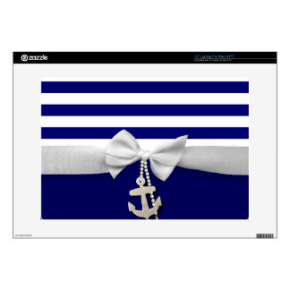 Nautical blue stripe white ribbon & charms graphic skins for laptops