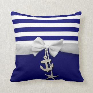 Nautical blue stripe white ribbon & charms graphic throw pillow