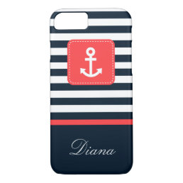 Nautical Blue Stripes and Compass iPhone 8/7 Case