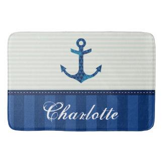 Nautical Blue Stripes Pattern Anchor Custom Name Bath Mats