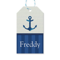Nautical Blue Stripes Pattern Anchor Custom Name Gift Tags