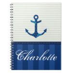 Nautical Blue Stripes Pattern Anchor Custom Name Note Book