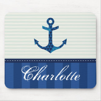Nautical Blue Stripes Pattern Anchor Custom Name Mouse Pad