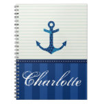 Nautical Blue Stripes Pattern Anchor Custom Name Note Book