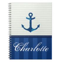 Nautical Blue Stripes Pattern Anchor Custom Name Notebook