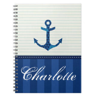 Nautical Blue Stripes Pattern Anchor Custom Name Spiral Notebook