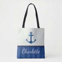 Nautical Blue Stripes Pattern Anchor Custom Name Tote Bag