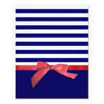 Nautical Blue Stripes & Red Ribbon Bow Graphic Card at Zazzle