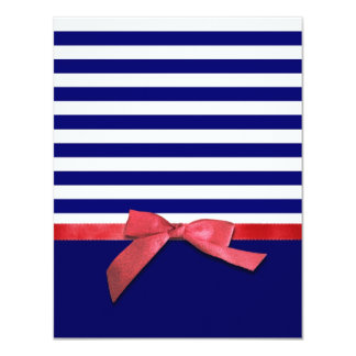Nautical blue stripes & red ribbon bow graphic invite