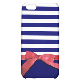 Nautical blue stripes & red ribbon bow graphic cover for iPhone 5C