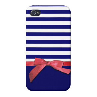 Nautical blue stripes & red ribbon bow graphic iPhone 4 case
