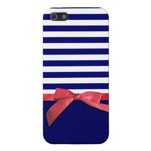 Nautical blue stripes & red ribbon bow graphic cover for iPhone 5