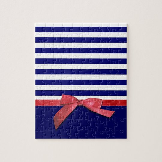 Nautical blue stripes & red ribbon bow graphic jigsaw puzzle