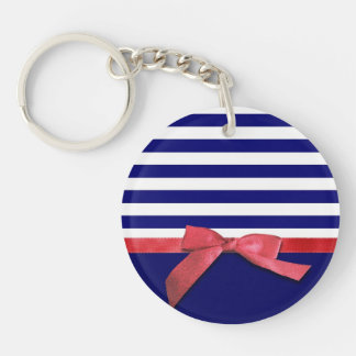 Nautical blue stripes & red ribbon bow graphic keychain