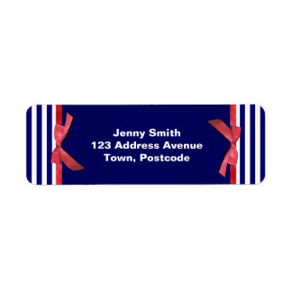 Nautical blue stripes & red ribbon bow graphic label
