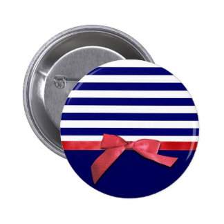 Nautical blue stripes & red ribbon bow graphic pinback button