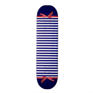 Nautical blue stripes & red ribbon bow graphic skateboard