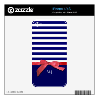 Nautical blue stripes & red ribbon bow graphic skins for the iPhone 4