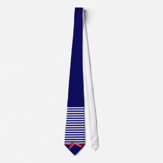 Nautical blue stripes & red ribbon bow graphic tie
