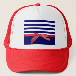 Nautical blue stripes & red ribbon bow graphic trucker hat