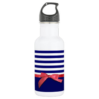 Nautical blue stripes & red ribbon bow graphic water bottle
