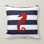 Nautical Blue Stripes Seahorse Whale Pillow