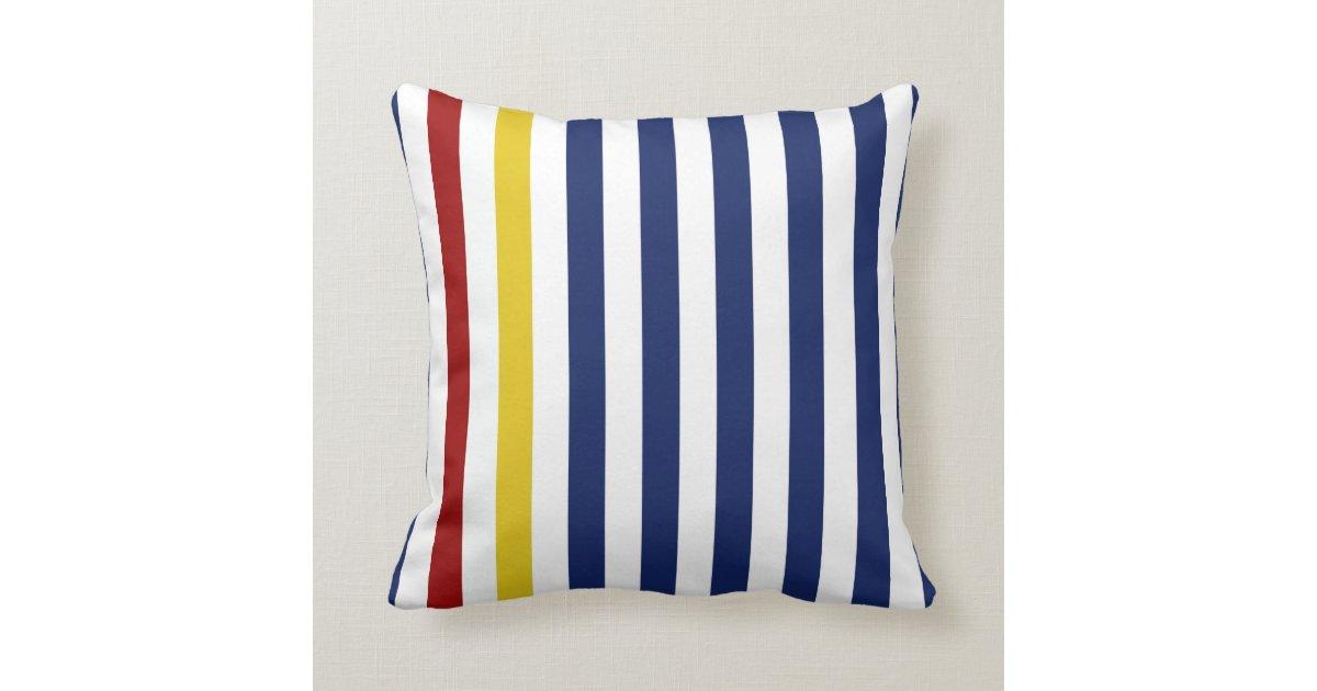 Nautical Blue Stripes Throw Pillow Zazzle.com