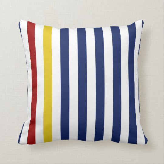 Nautical Blue Stripes Throw Pillow Zazzle.com