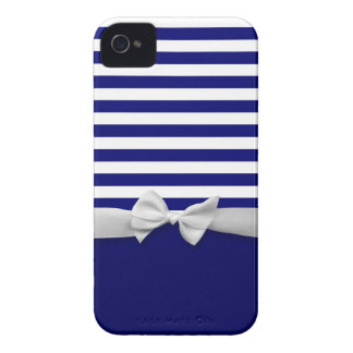 Nautical blue stripes & white ribbon bow graphic iPhone 4 Case-Mate cases